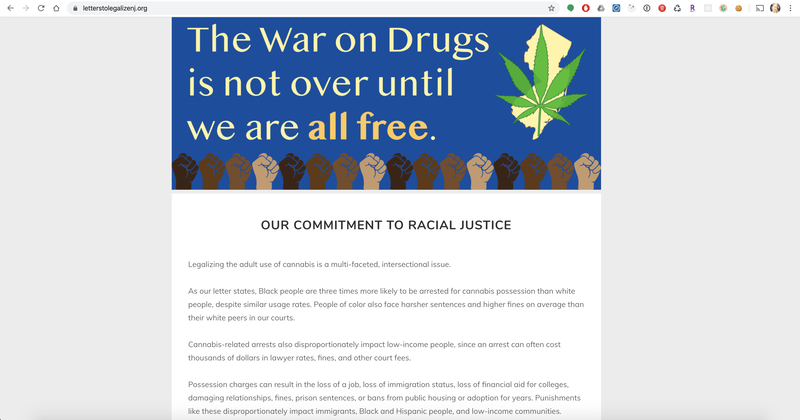 Letters to Legalize Home page with racial justice information
