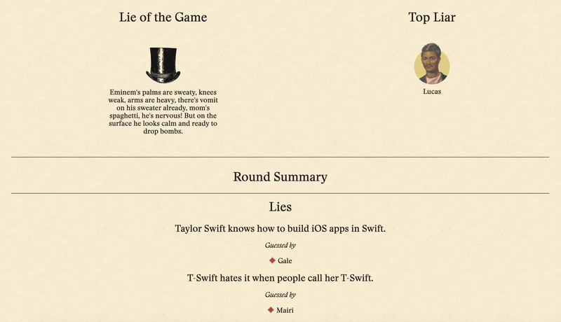 Scoreboard Mode: Lie of the Game and Top Liar on Final Scores page